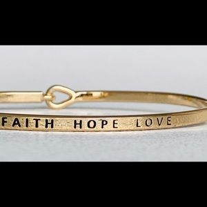 Faith hope love thin hook bangle bracelet